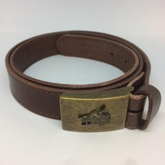 Kožený pásek - hladký s kovovou přezkou divočákem