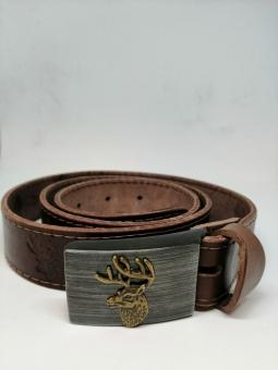Kožený opasek zdobený ražbou a přezkou s jelenem