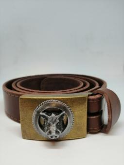 Kožený opasek hladký s kovovou přezkou s divočákem