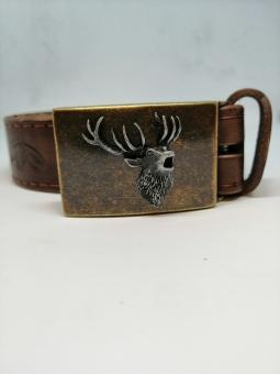 Kožený opasek s ražbou a s jelenem