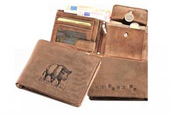 Kožená peněženka divočák široká hnědá