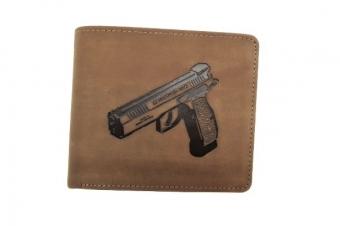 Kožená peněženka pistole široká hnědá