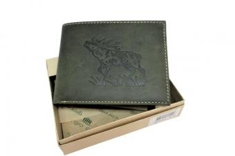 Kožená peněženka jelen široká zelená GC
