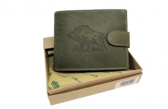 Kožená peněženka divočák široká zelená GC