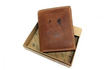 Kožená peněženka divočák vysoká hnědá GC