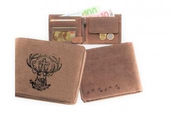 Kožená peněženka Sv. Hubert široká hnědá