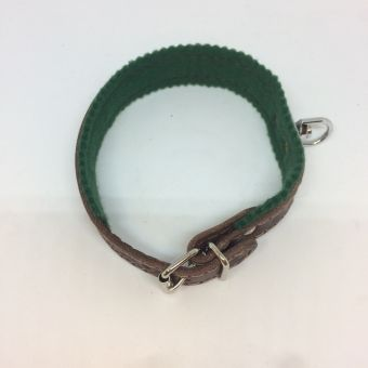 Kožený obojek se zelenou podšívkou, šířka 3 cm