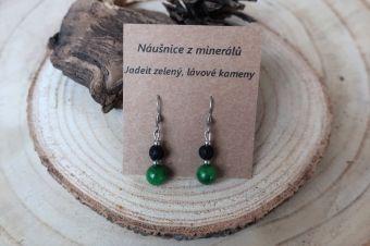 Náušnice z minerálů - jadeit a černá láva - afroháčky